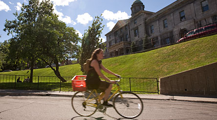 Beginning next week, cyclists will be allowed to ride their bikes through downtown campus.