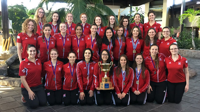Members of the McGill Synchronized Swimming team following their fourth-straight national championship.