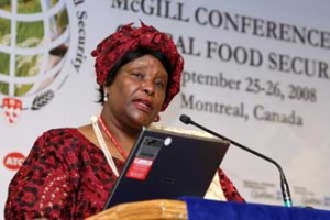 Her Excellency Judith Mbula Bahemuke, Kenya High Commissoner to Canada, speaking at the McGill Conference on Global Food Security. / Photo: Owen Egan