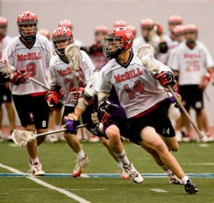 The lacrosse Redmen regularly face of against teams that feature some professional box lacrosse players. / Photo: Andrew Dobrowolskyj