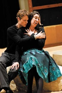 Collatinus (Philippe Sly, BA Music) tries to console his wife Lucretia (Liliana Piazza, MA Music) the morning after she has been raped by Prince Tarquinius. / Photo: Emily Ding