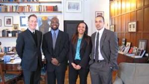 Law Dean Nicholas Kasirer with members of the BLSAC Exec Anthony Morgan, Cynthia Burton and Laurent Koné. / Photo: Lysane Larose