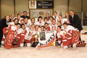 The McGill Martlets pose with the Ed Enos Trophy after winning their fourth consecutive QSSF women's hockey championship.  The No.1-ranked Martlets begin the defence of the national title tonight at the CIS championships in Antigonish N.S. / Photo: Andrew Dobrowolskyj