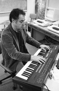 John Chowning plays a Yamaha DX7, c. 1984. / Photo courtesy Stanford University