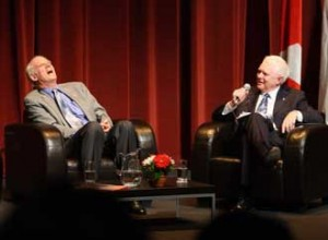 Charles Taylor, McGill professor Emeritus (left) and U of T professor Anthony Pawson share a light moment during the May 5 event to commemorate their being named winners of the 2008 Kyoto Prize. / Photo: Owen Egan