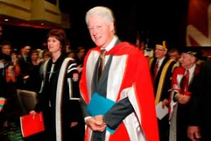 Former U.S. President Bill Clinton leads the platform party from the stage following the Oct. 16 ceremony at which he was granted a Doctor of Laws, honoris causa, from McGill./ Photo: Owen Egan