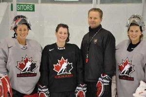 From left to right, Team Canada's McGill Four:  Charline Labonté, Catherine Ward, Peter Smith, and Kim St-Pierre. / Photo: Marco Marciano/Hockey Canada