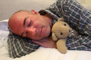 Michael Bourguignon (left) and Mr. Cuddles (right): breathing more easily for a good night's sleep. / Photo: Owen Egan