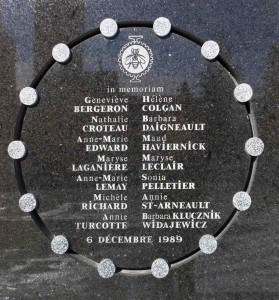 The plaque on the exterior wall of École Polytechnique commemorating the victims of the massacre. Photo courtesy of Wikimedia Commons.