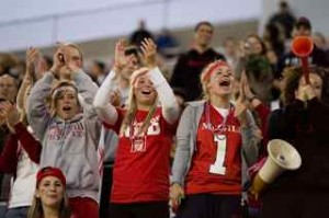 There was plenty of McGill red in the stands at during Fill the Stadium night. / Photo: Dndrew Dobrowolskyj