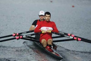 Jonathan Rinaldi and Renaud Garon-Gendron's gold medal performance in the men's lightweight double in last weekend's Canadian University Rowing Association championships marked a first for a McGill crew in the event. / Photo: Jan Vailhé/ Sportphotography.ca