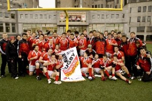 The Rugby Redmen captured a third consecutive Quebec title on Saturday. / Photo: Andrew Dobrowolskyj